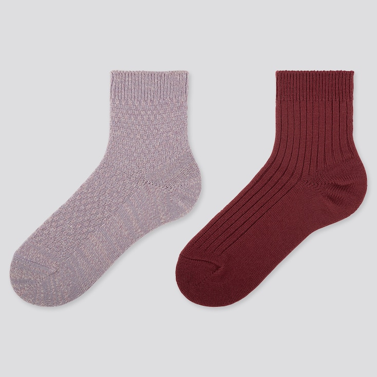 Women Heattech Crew Pique Socks (2 Pairs), Purple, Large