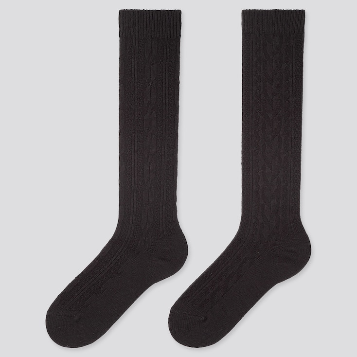 WOMEN HEATTECH CABLE KNEE HIGH SOCKS (2 PAIRS), BLACK, large