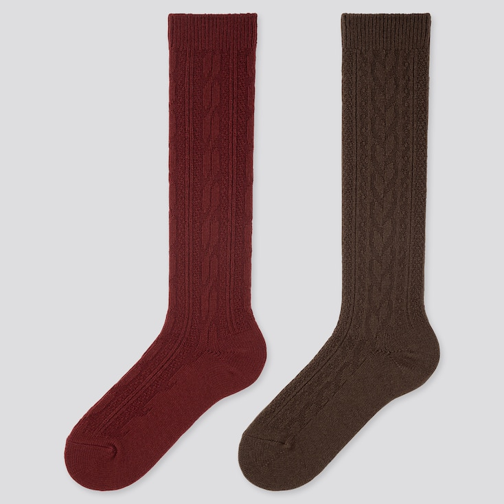 WOMEN HEATTECH CABLE KNEE HIGH SOCKS (2 PAIRS), RED, large
