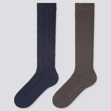 WOMEN HEATTECH CABLE KNEE HIGH SOCKS (2 PAIRS), BLUE, medium