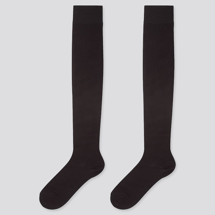 WOMEN HEATTECH OVER-THE-KNEE SOCKS (2 PAIRS), BLACK, large