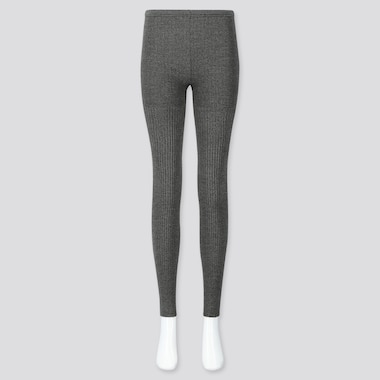 WOMEN HEATTECH RIBBED KNIT LEGGINGS, DARK GRAY, medium