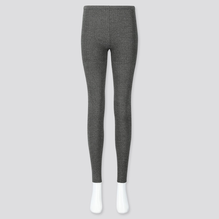 WOMEN HEATTECH RIBBED KNIT LEGGINGS, DARK GRAY, large