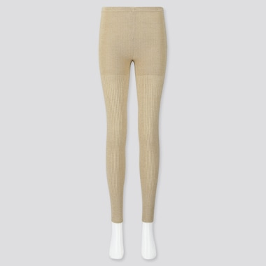 WOMEN HEATTECH RIBBED KNITTED LEGGINGS