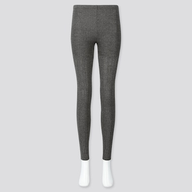 WOMEN HEATTECH CABLE KNIT LEGGINGS, DARK GRAY, medium
