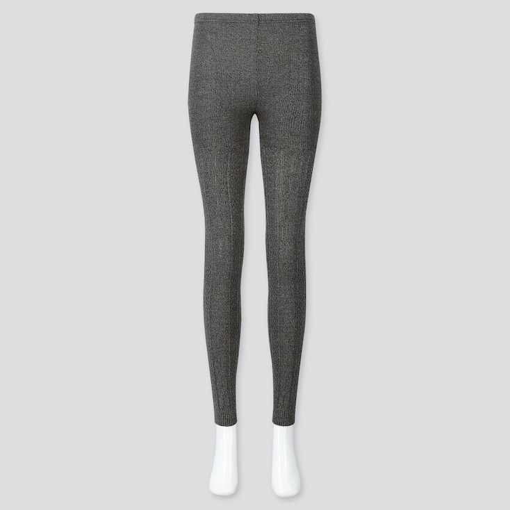 WOMEN HEATTECH CABLE KNIT LEGGINGS, DARK GRAY, large