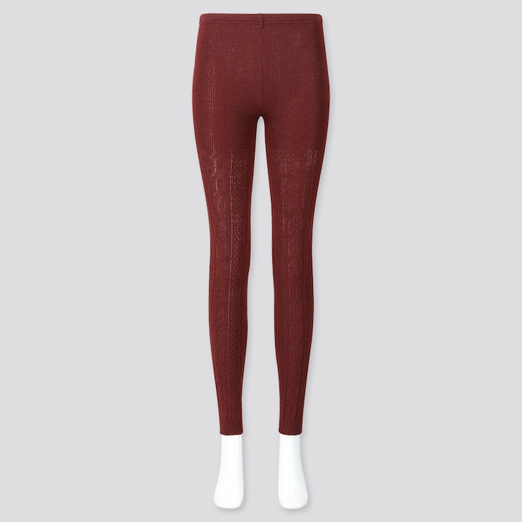 Women Heattech Cable Knit Leggings, Red, Large