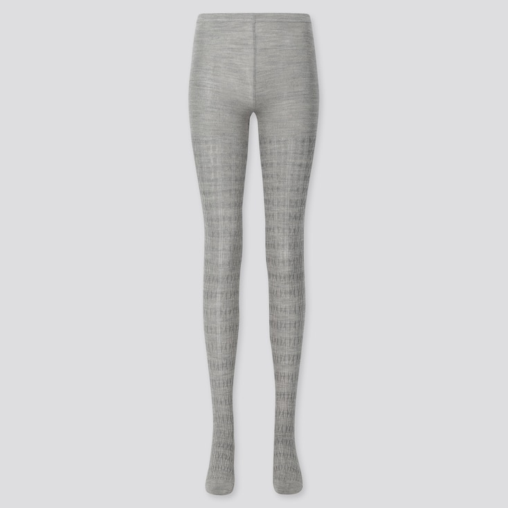 WOMEN HEATTECH CABLE KNITTED TIGHTS, GRAY, large