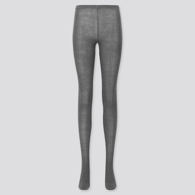 Women Heattech Ribbed Knitted Tights, Dark Gray, Medium
