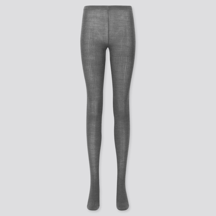 Women Heattech Ribbed Knitted Tights, Dark Gray, Large