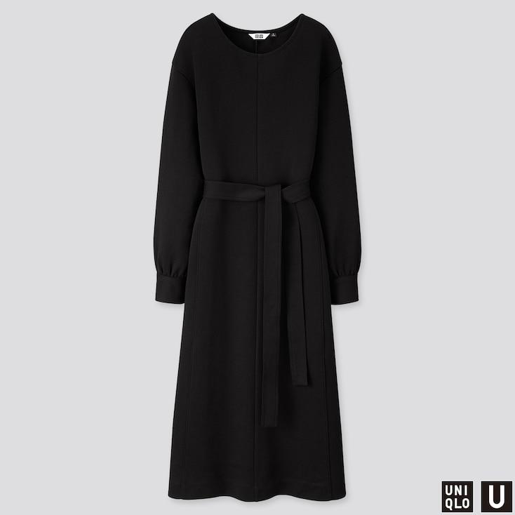 WOMEN U JERSEY BELTED LONG-SLEEVE DRESS, BLACK, large