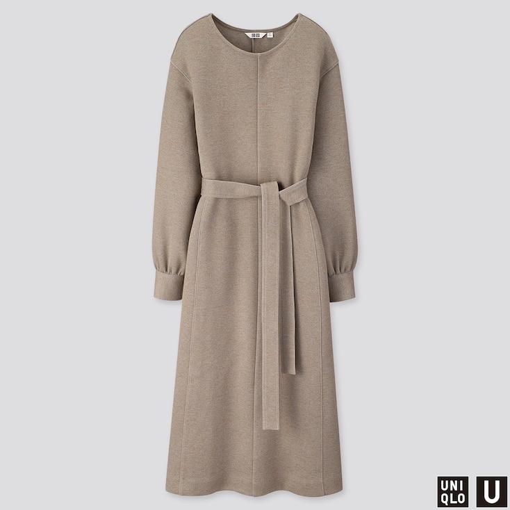 WOMEN U JERSEY BELTED LONG-SLEEVE DRESS, BEIGE, large