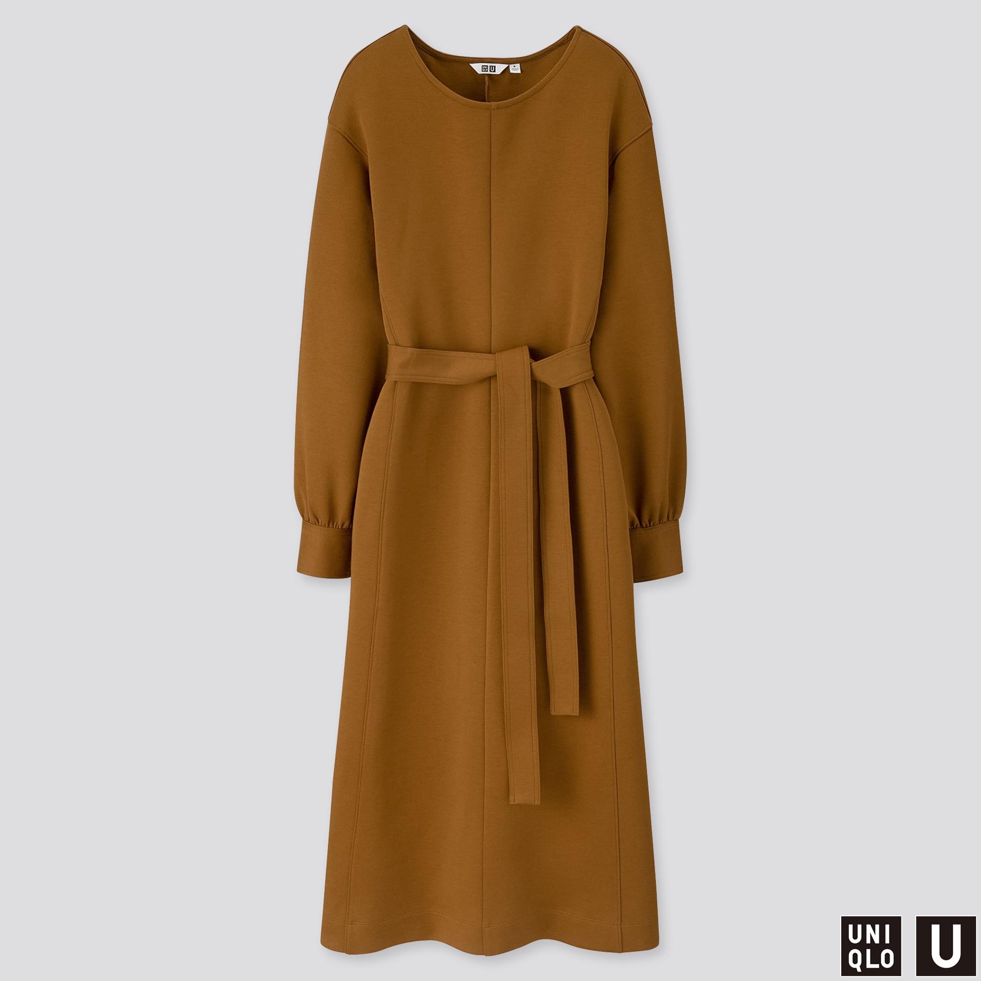 WOMEN U JERSEY BELTED LONG-SLEEVE DRESS