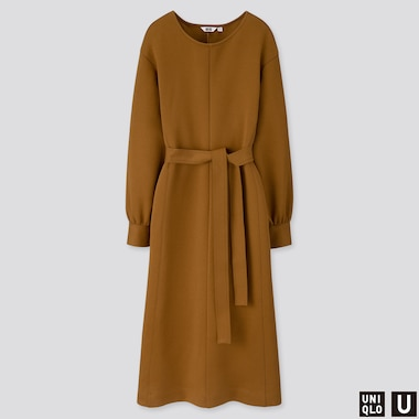 WOMEN U JERSEY BELTED LONG-SLEEVE DRESS, BROWN, medium