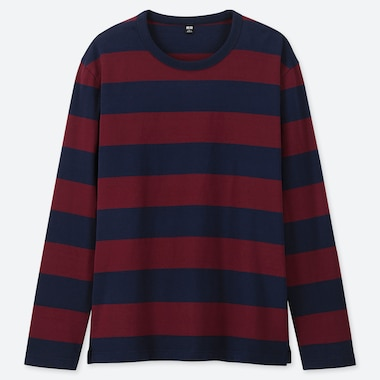 MEN WASHED STRIPED LONG-SLEEVE T-SHIRT, WINE, medium