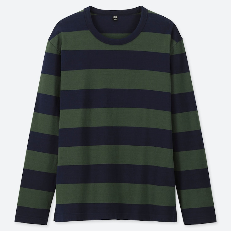MEN WASHED STRIPED LONG-SLEEVE T-SHIRT, GREEN, large