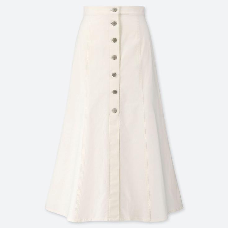 WOMEN CHINO FRONT BUTTON LONG SKIRT, OFF WHITE, large