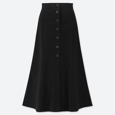 WOMEN CHINO FRONT BUTTON LONG SKIRT, BLACK, medium