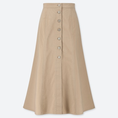 WOMEN CHINO FRONT BUTTON LONG SKIRT, BEIGE, medium