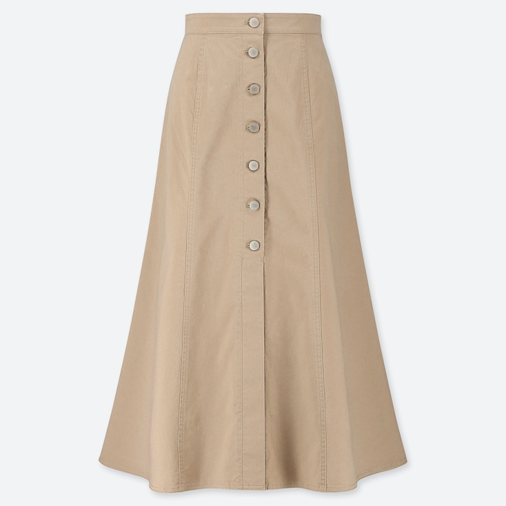 WOMEN CHINO FRONT BUTTON LONG SKIRT, BEIGE, large