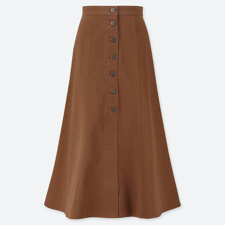 WOMEN CHINO FRONT BUTTON LONG SKIRT, BROWN, large