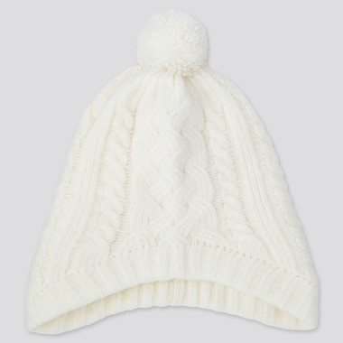 GIRLS HEATTECH WIND PROOF KNITTED EARFLAP CAP, OFF WHITE, medium