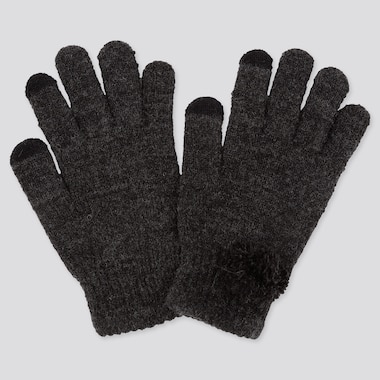 GIRLS HEATTECH KNITTED GLOVES, DARK GRAY, medium