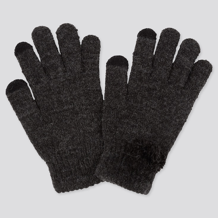 GIRLS HEATTECH KNITTED GLOVES, DARK GRAY, large