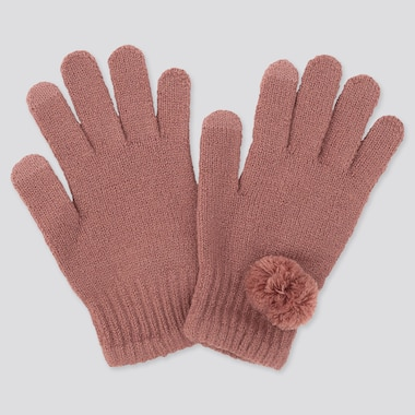 Girls Heattech Knitted Gloves, Pink, Medium