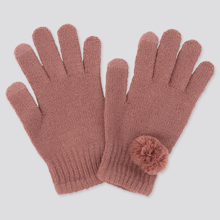 GIRLS HEATTECH KNITTED GLOVES, PINK, large