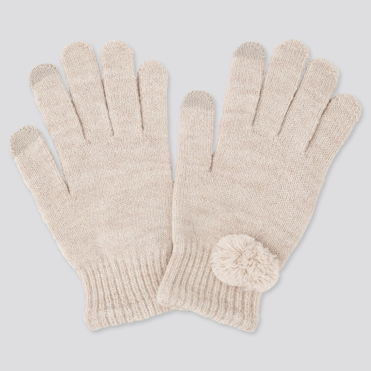 GIRLS HEATTECH KNITTED GLOVES, NATURAL, large