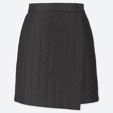 WOMEN WINDPROOF WARM-LINED WRAP MINI SKIRT, BLACK, medium