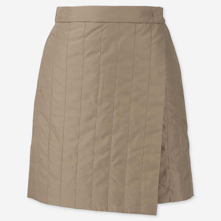 WOMEN WINDPROOF WARM-LINED WRAP MINI SKIRT, BEIGE, large