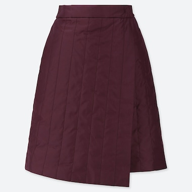 WOMEN WINDPROOF WARM-LINED WRAP MINI SKIRT, PURPLE, medium