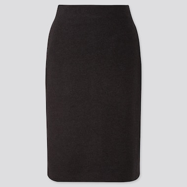 WOMEN WOOL-BLEND PENCIL SKIRT, BLACK, medium