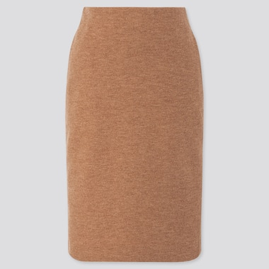WOMEN WOOL-BLEND PENCIL SKIRT, BEIGE, medium