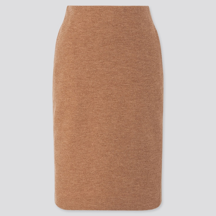 WOMEN WOOL-BLEND PENCIL SKIRT, BEIGE, large