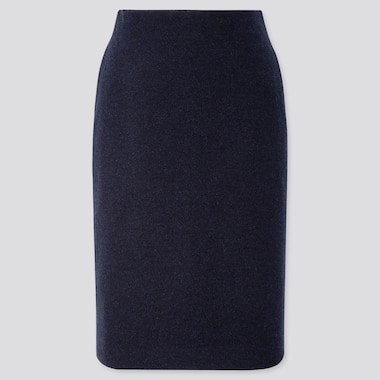 WOMEN WOOL-BLEND PENCIL SKIRT, NAVY, medium