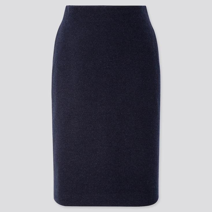 WOMEN WOOL-BLEND PENCIL SKIRT, NAVY, large