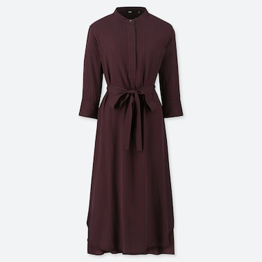 WOMEN RAYON STRIPED 3/4 SLEEVED BELTED DRESS