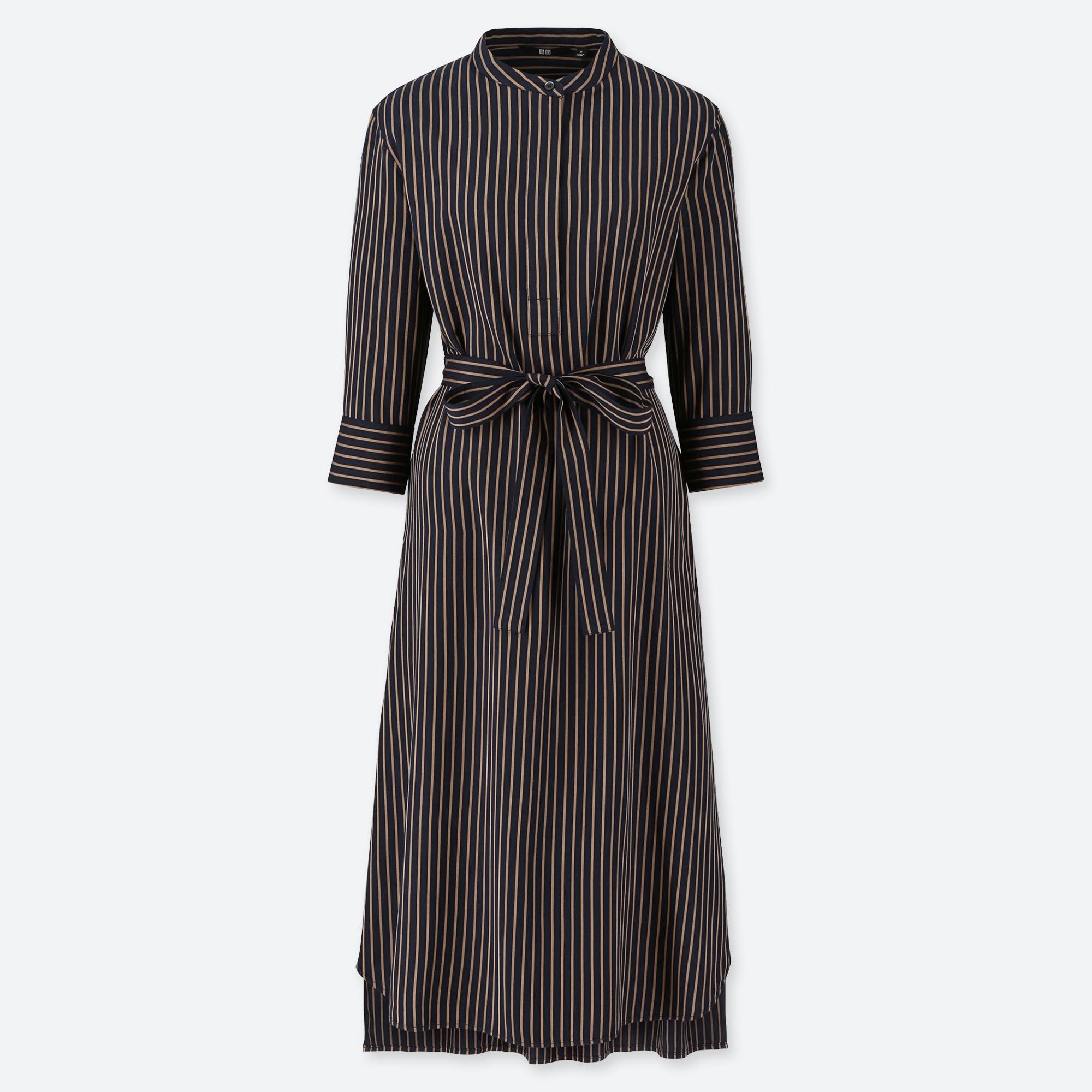 WOMEN RAYON 3/4 SLEEVE STRIPED DRESS