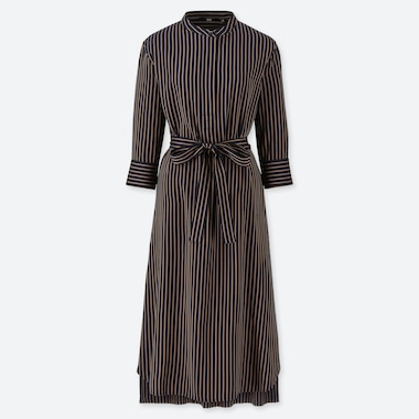WOMEN RAYON 3/4 SLEEVE STRIPED DRESS, NAVY, medium