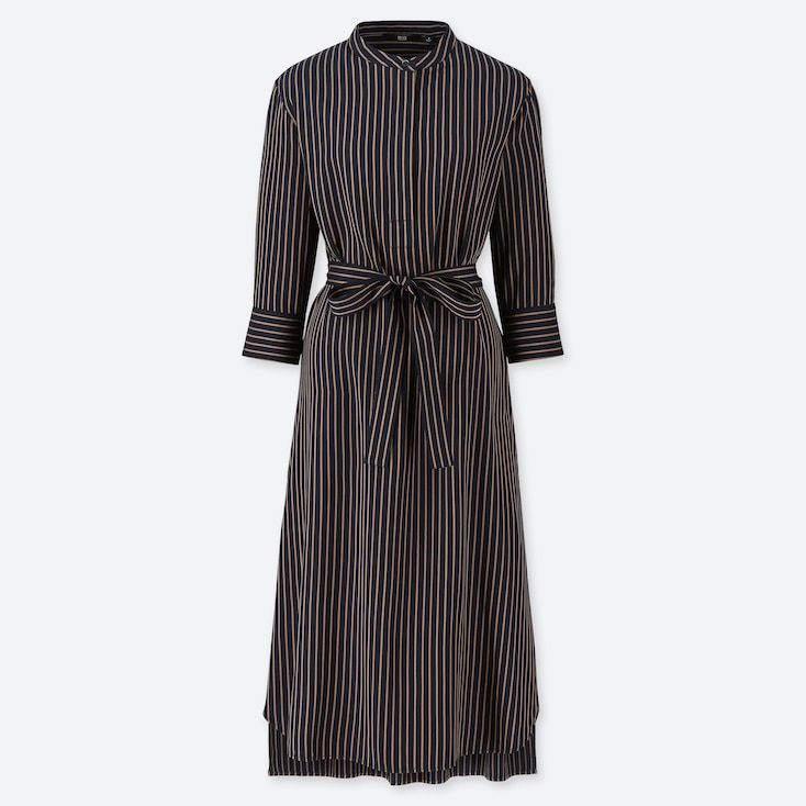 WOMEN RAYON 3/4 SLEEVE STRIPED DRESS, NAVY, large