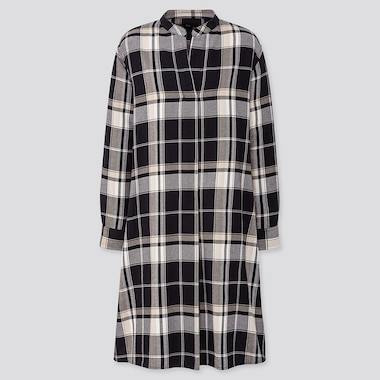 WOMEN FLANNEL A-LINE LONG SLEEVED DRESS