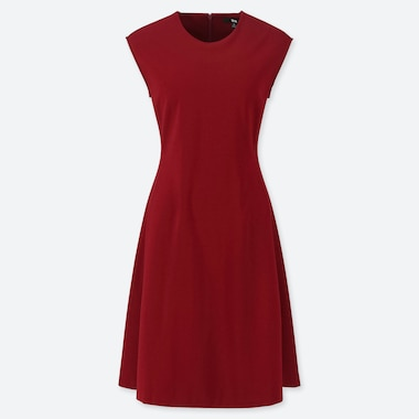 WOMEN PONTE KNIT SLEEVELESS DRESS