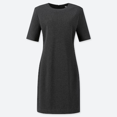WOMEN PONTE KNIT SHORT SLEEVED DRESS