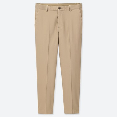 MEN EZY RELAXED FIT ANKLE-LENGTH PANTS, BEIGE, medium