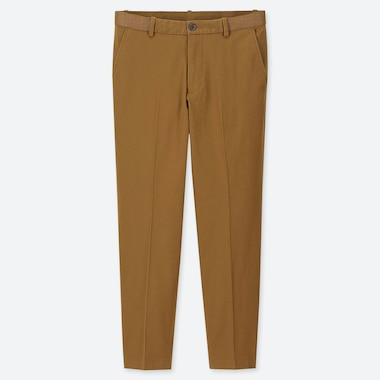 MEN EZY REGULAR-FIT ANKLE-LENGTH PANTS, BROWN, medium