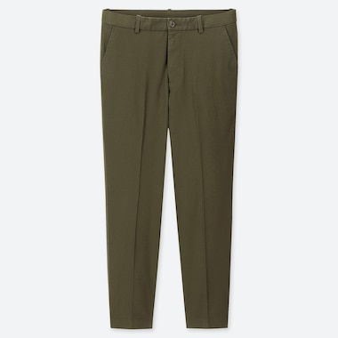 Men Ezy Relaxed Fit Ankle-Length Pants, Olive, Medium