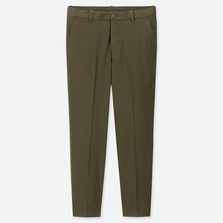 Men Ezy Relaxed Fit Ankle-Length Pants, Olive, Large